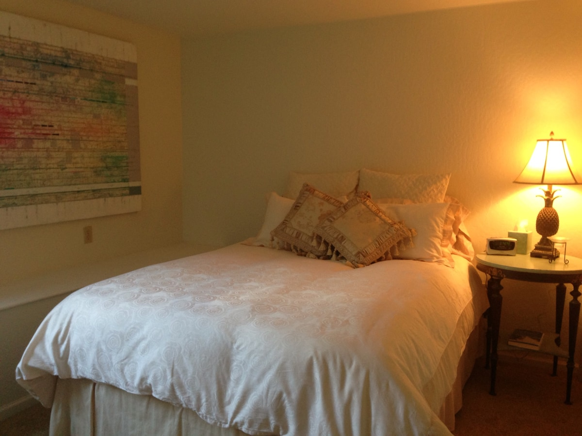 Super comfy queen size bed with high quality linens.  Closet with extra linens and plenty of space to hang your clothes!