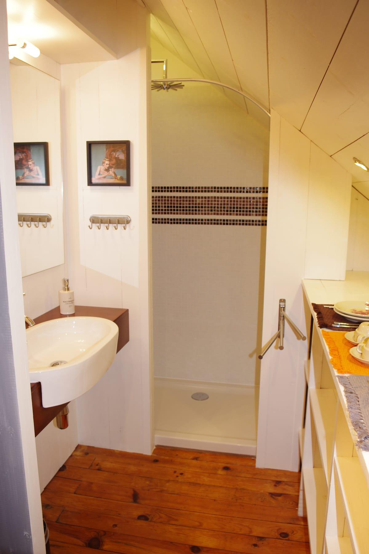 Salle de Bain privative. Intégrée dans la chambre par une cloison en bois semi-ouverte, elle se compose d'un plan vasque et d'une grande douche. Elle cohabite avec le coin rangement, caractérisé par des casiers spacieux.