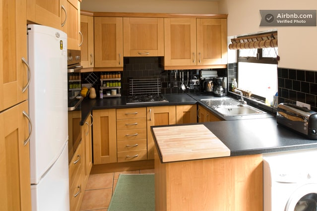 Our very well equipped kitchen, with double-oven, gas range, and large fridge/freezer.  We have virtually everything you need to make a gourmet meal.