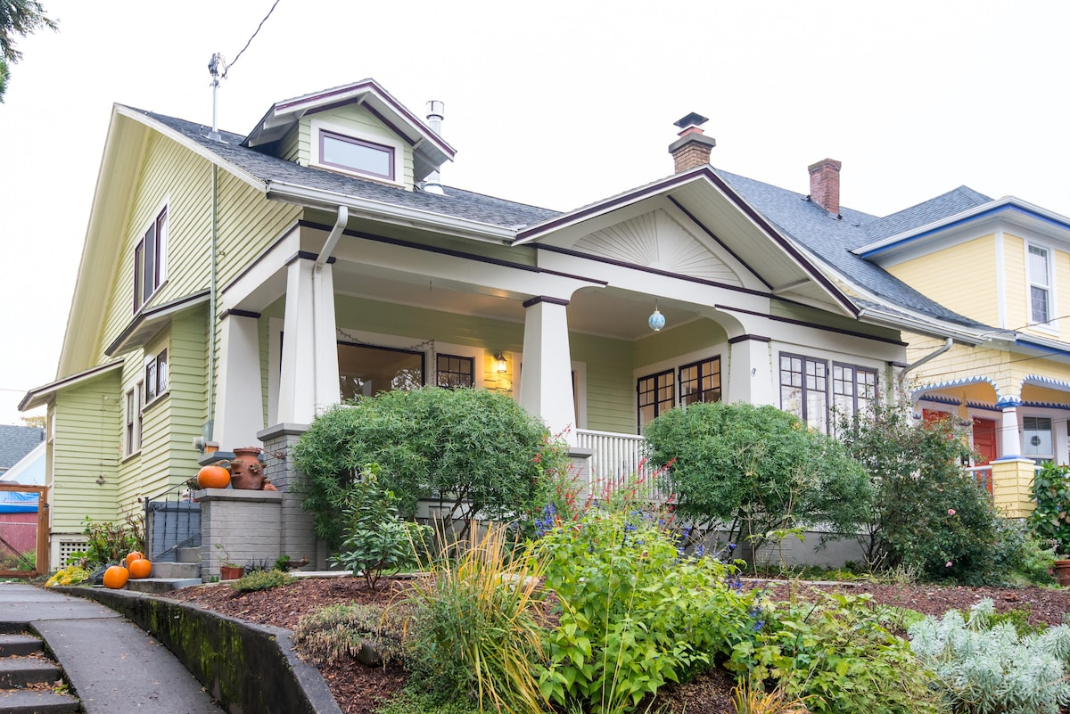 Classic Portland bungalow with large front porch.