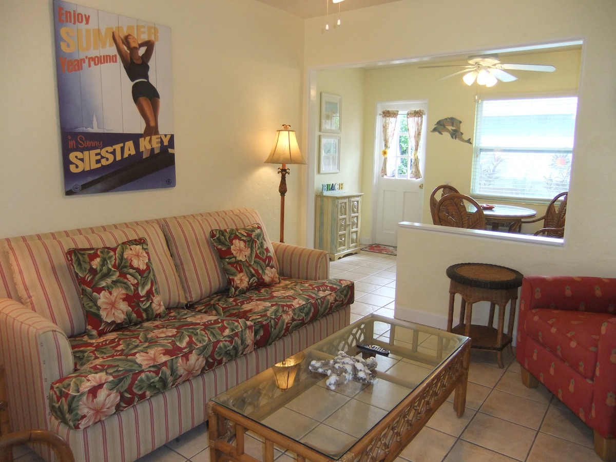 Villa 2 is a bright, single story, cottage style condo with quality furnishings.
