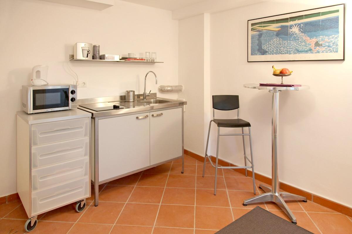 Voll ausgestattete Miniküche mit Ceran-Kochfeld, Kühlschrank und Mikrowelle