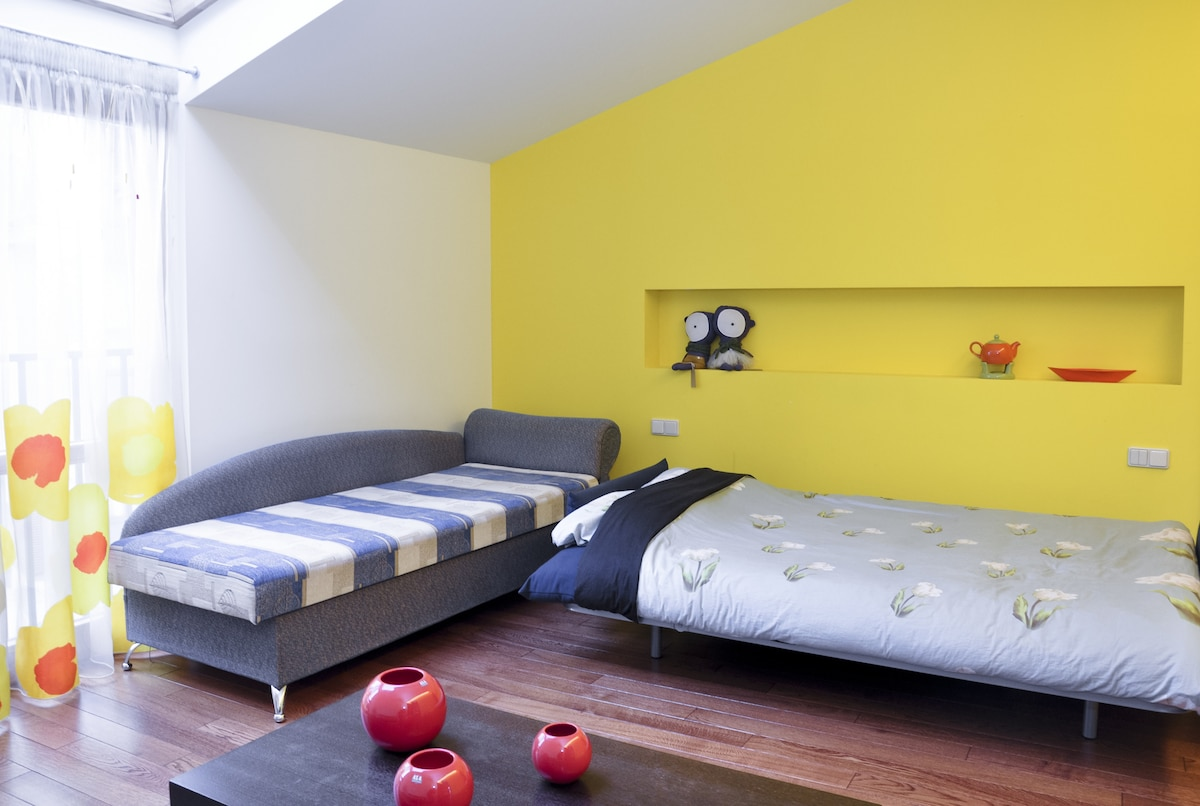 Suitable for three guests - one double and one single bed