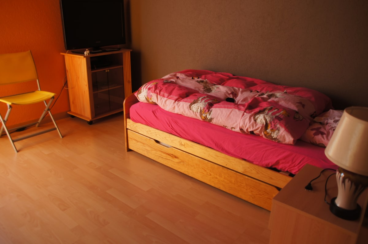 One of the smaller bedrooms. A second bed can be pulled out