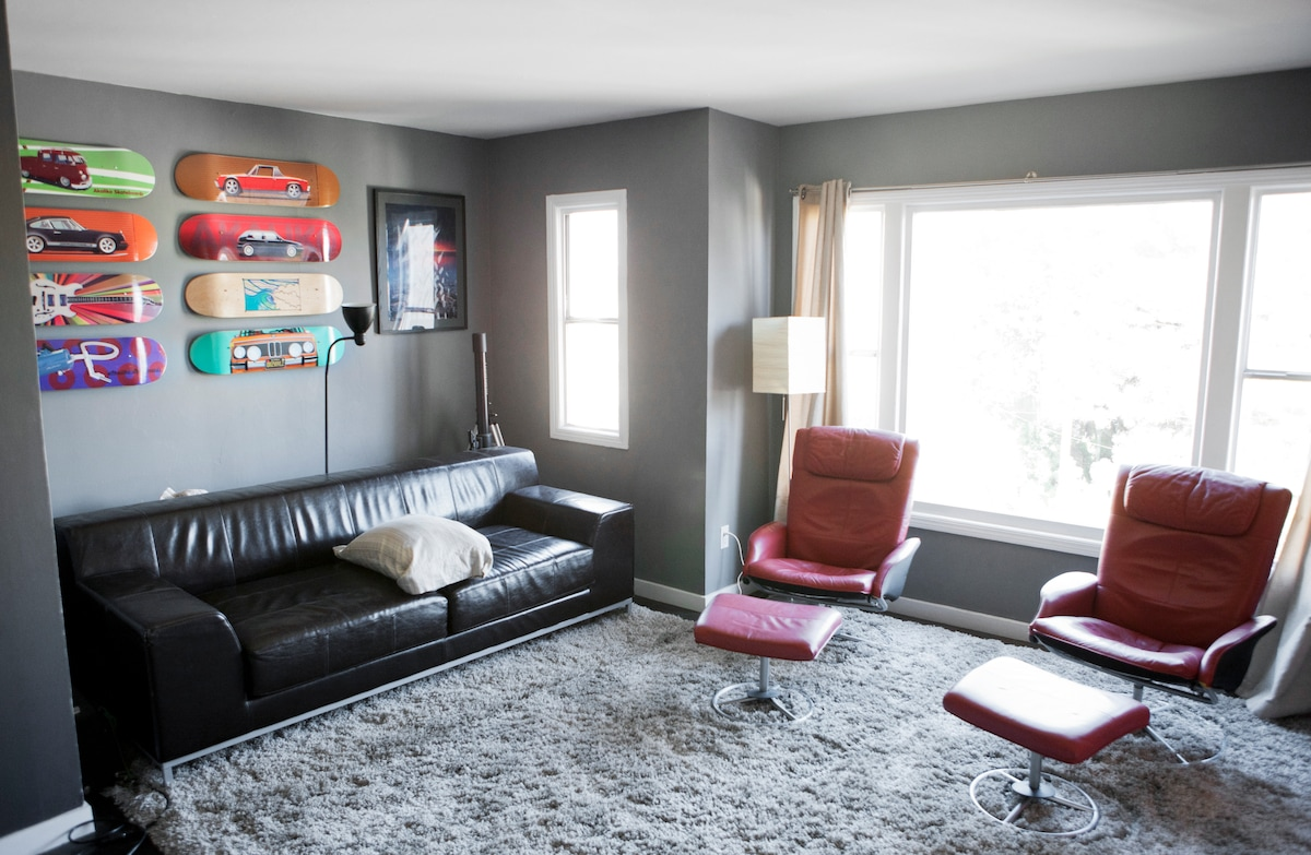 Nice bright living room with great lounging seats