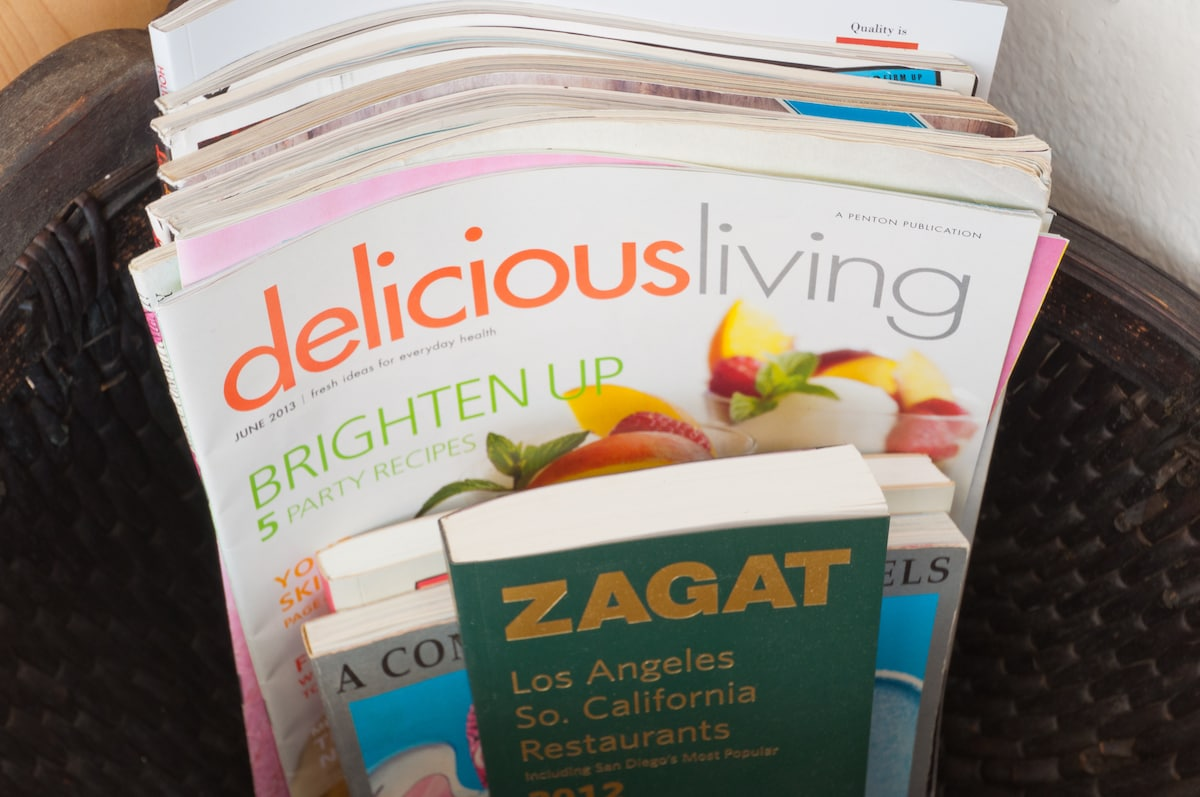 Reading material on topics such as travel, Los Angeles, cooking, local dining and business.