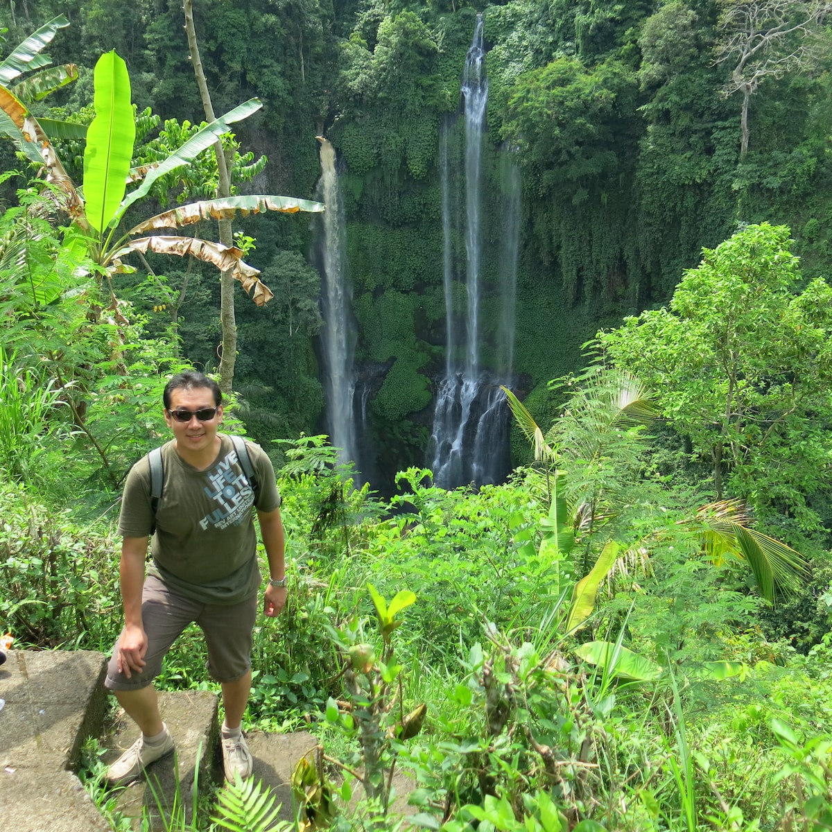 One of our recent guests Jimmy trekking to water falls.