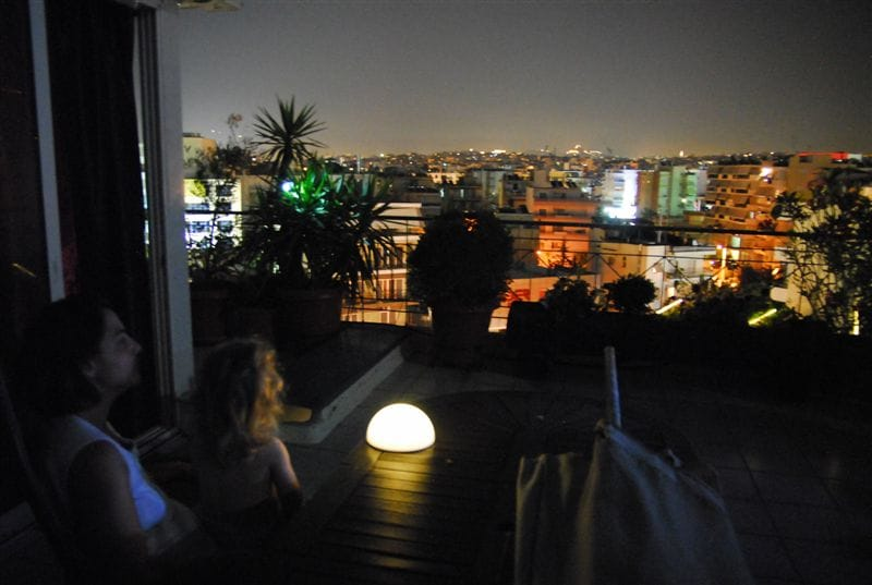 Superb overview of Athens, Acropolis and Lycabetus hill, from our veranda