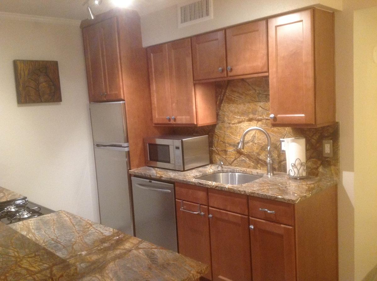 Fabulous granite in full service kitchen.