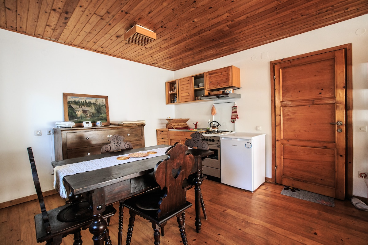 Dining place with kitchen.