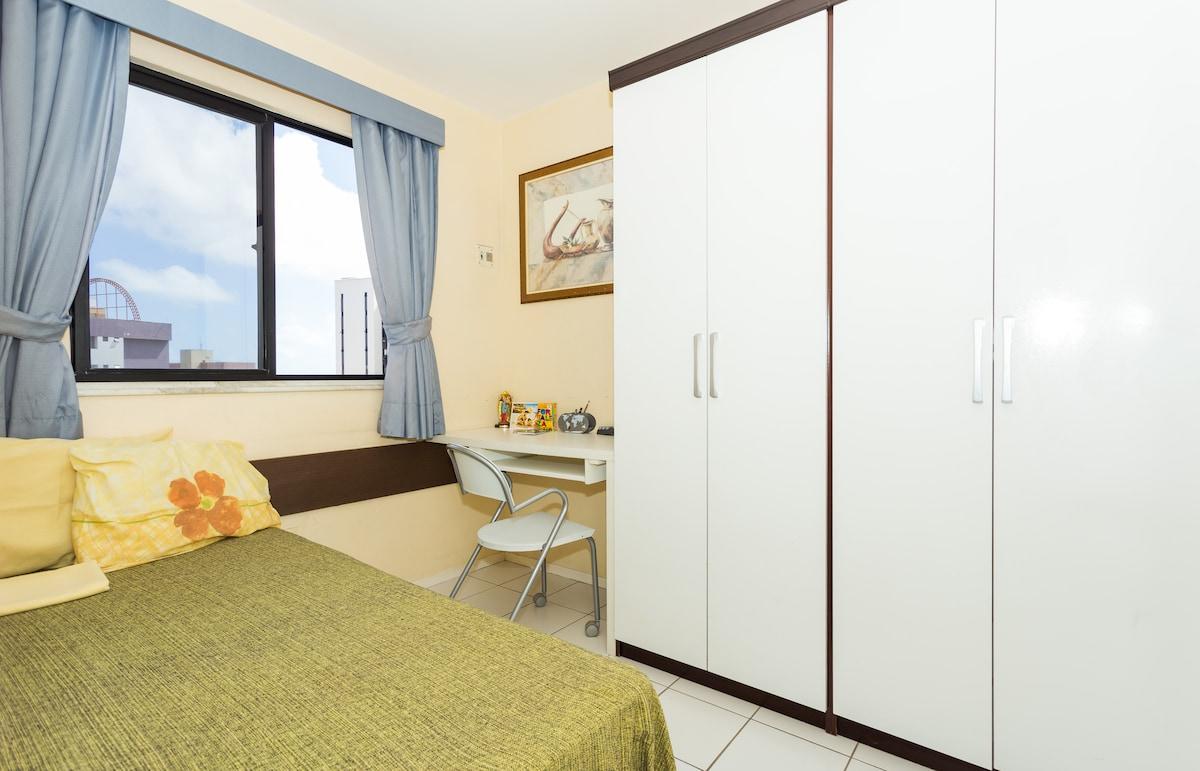 Twin bed room, desk, 4-door wardrobe and Wi-Fi Internet.