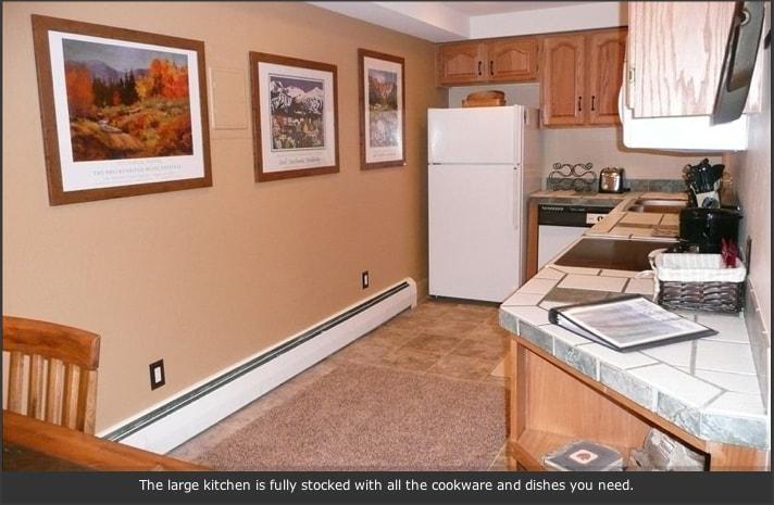 Full kitchen, refrigerator, stove, dishwasher, microwave, oven.