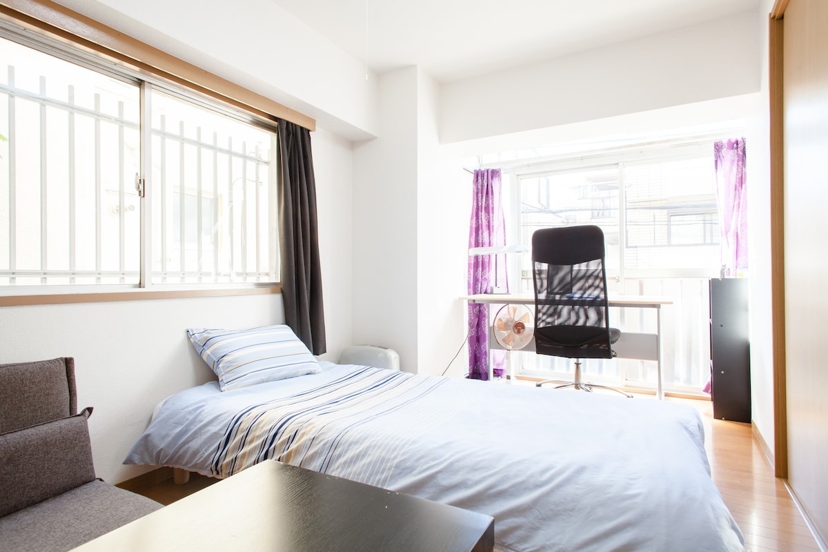 This is one bedroom with single bed and single sofa bed.