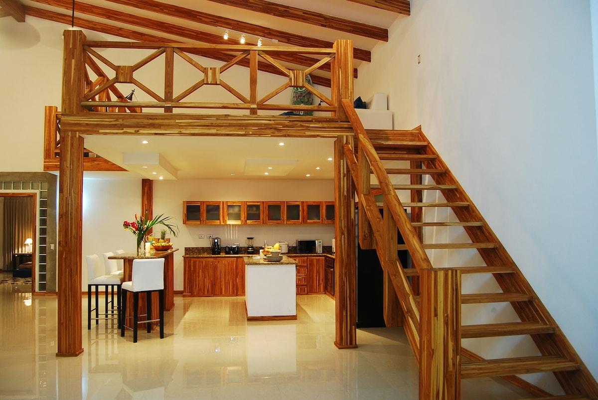 Mezzanine over the modern Kitchen.