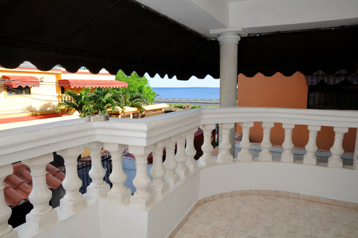 Communal balcony overlooking the Caribbean Sea