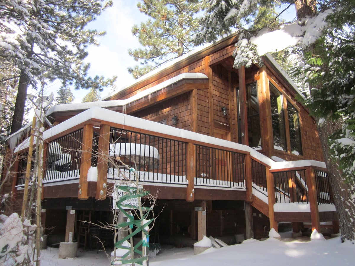 Tahoe House - front of house and deck; winter.