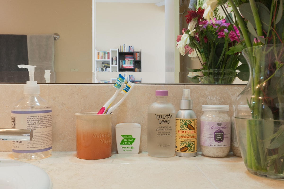 I provide toiletries, including shampoo, conditioner, soap, and laundry detergent to guests.