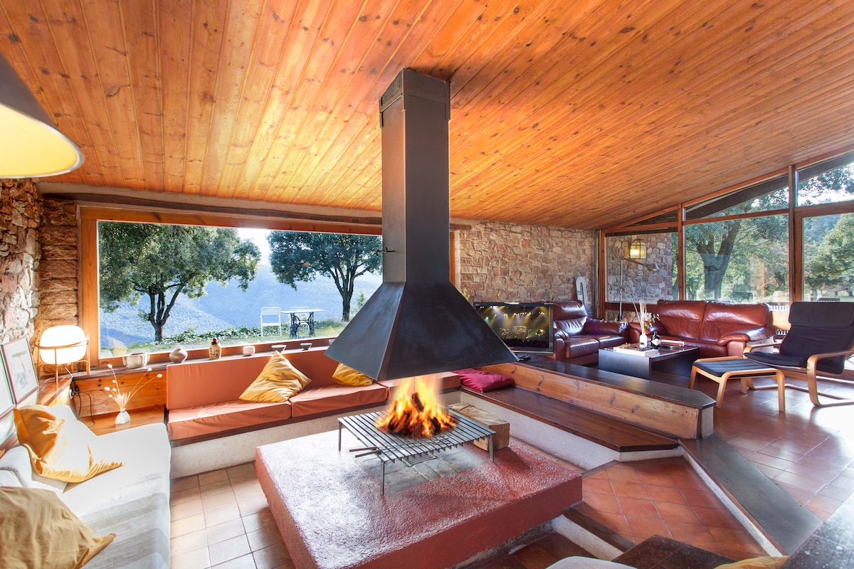 Living room with central fireplace and views.