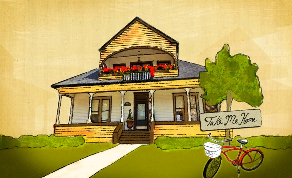 """An artist-rendered sketch of the Boise Guest House. Our motto is """"Take me home."""""""