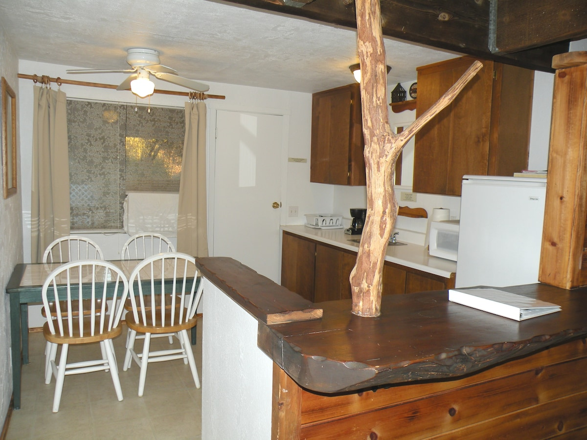 Kitchenette has a fridge, microwave, sink, table, coffee maker and is stocked with basic supplies. Sorry no stove or cooktop. Outdoor BBQ provided.