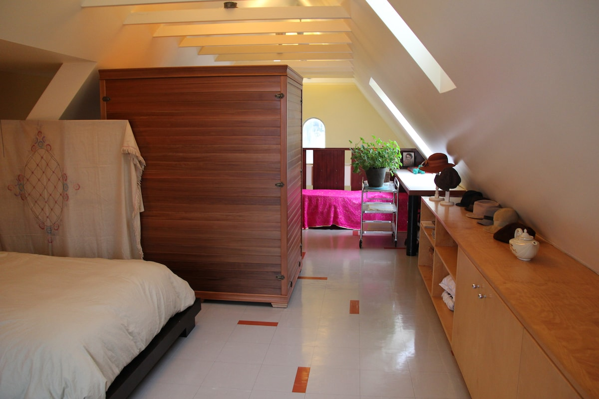 The cedar sauna further divides the room from the my private spa area overlooking the living room.