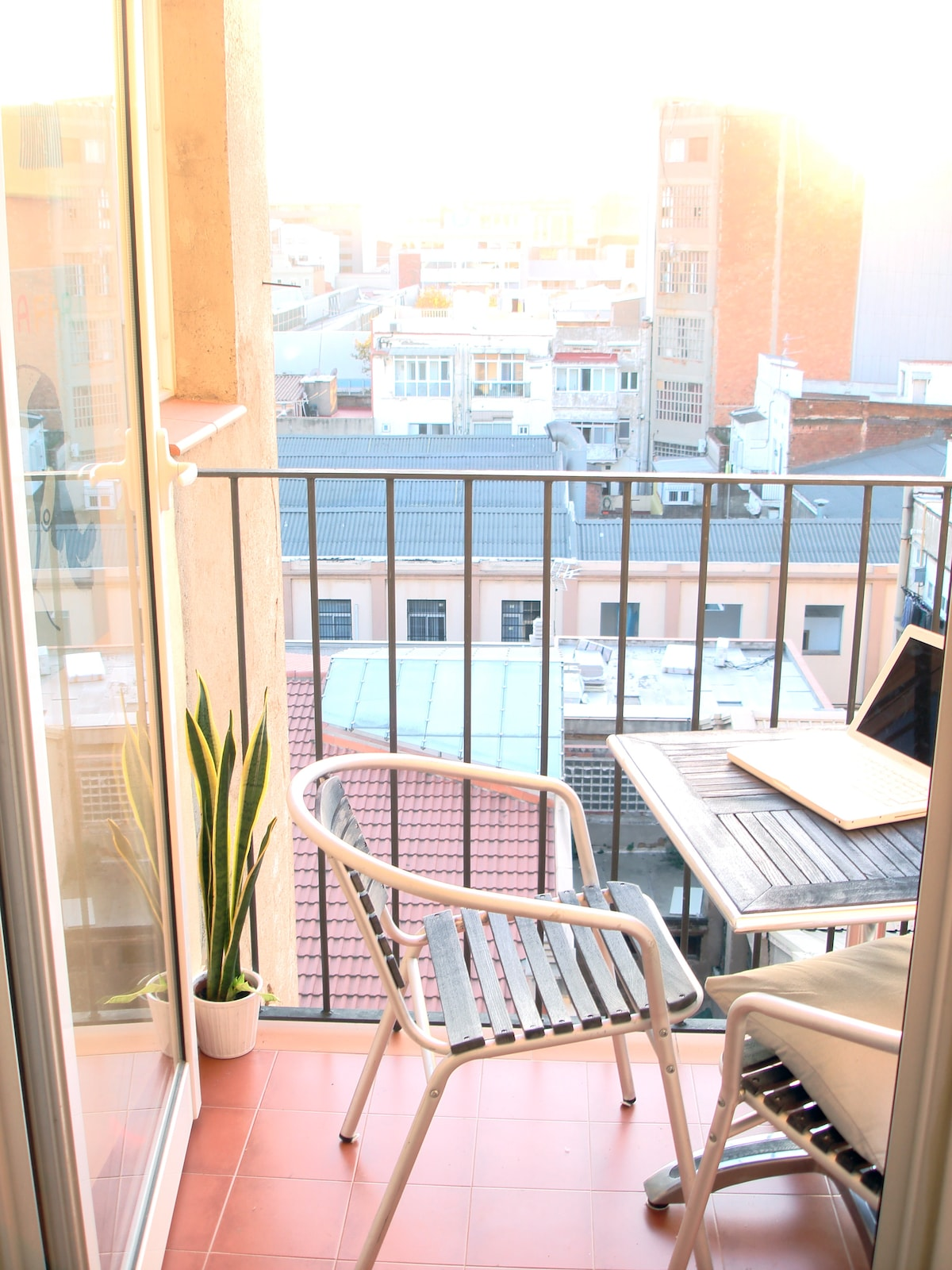 view from living room to terrace
