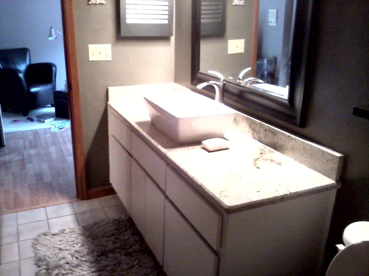 Private Bathroom has been recently updated with Granite countertops and a vessel sink , the faucet is unique, we think it's very Star Trekkie and hope you enjoy using it, there is a tub and shower also.