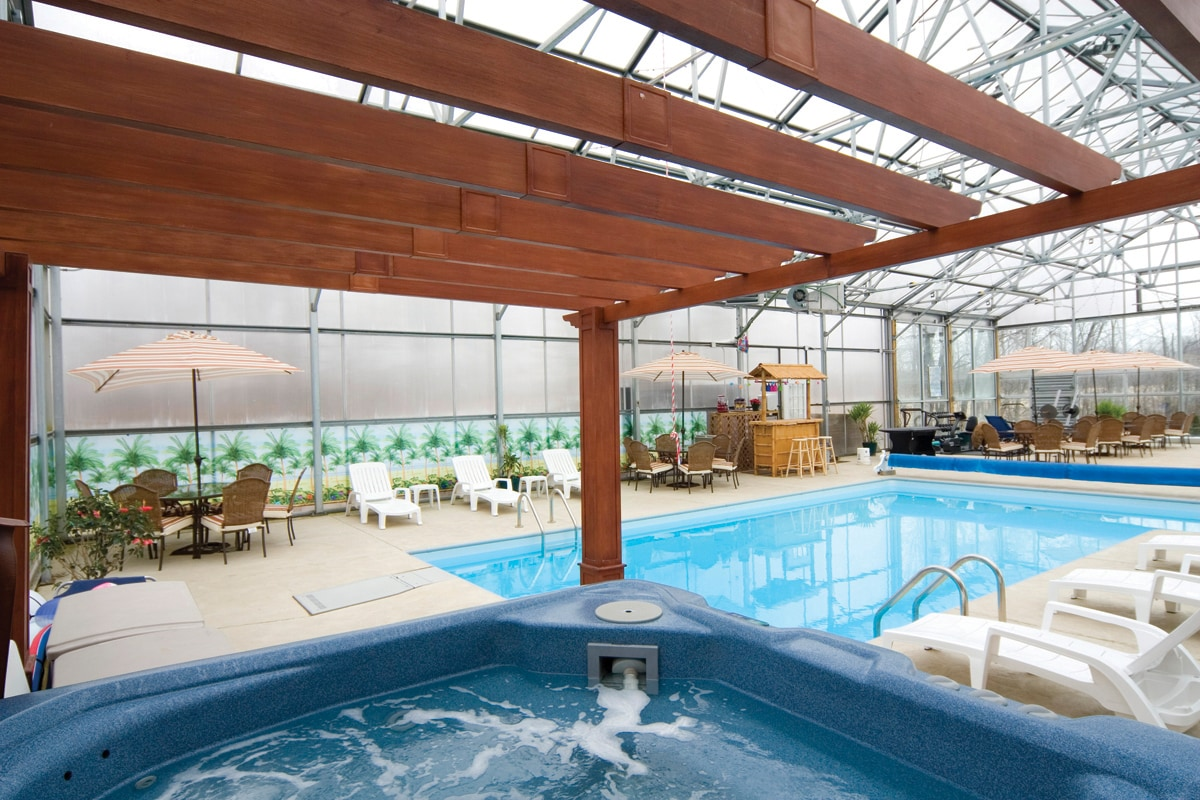 Come take a dip in our newly built Indoor Pool, relax in our 7 person Hot Tub, challenge eachother in our Game Room Area, or exercise in our Work-out Area in our wonderful greenhouse all year round.