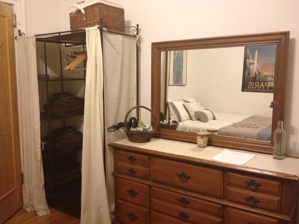 Your room: Dresser, wardrobe, towels, toiletries and hair dryer provided
