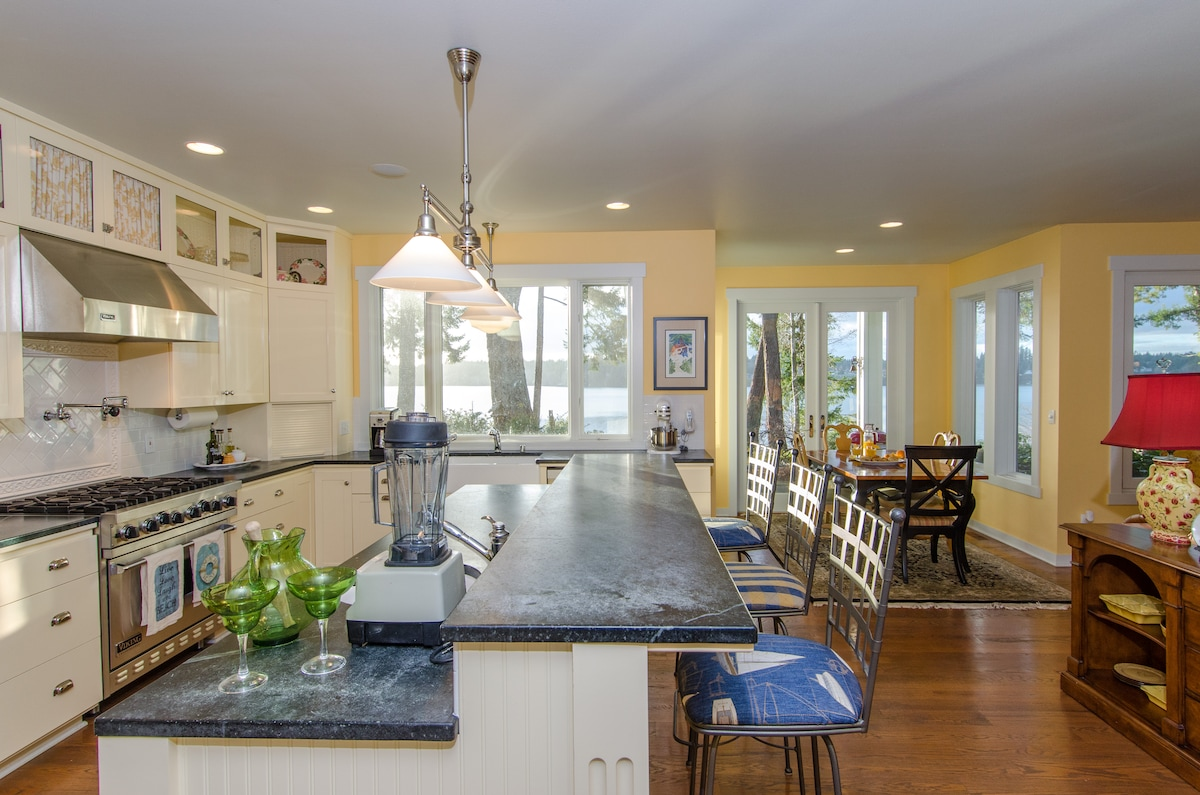 Soapstone counters and gorgeous hardwood floors and windows everywhere!