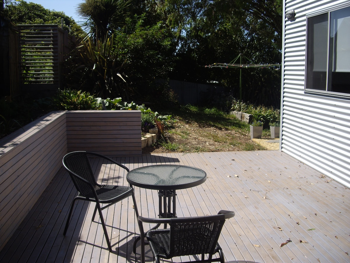Side deck that catches the morning  sun.
