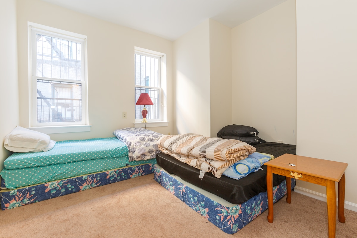 Double bed + single bed at requset. Real and comfortable beds