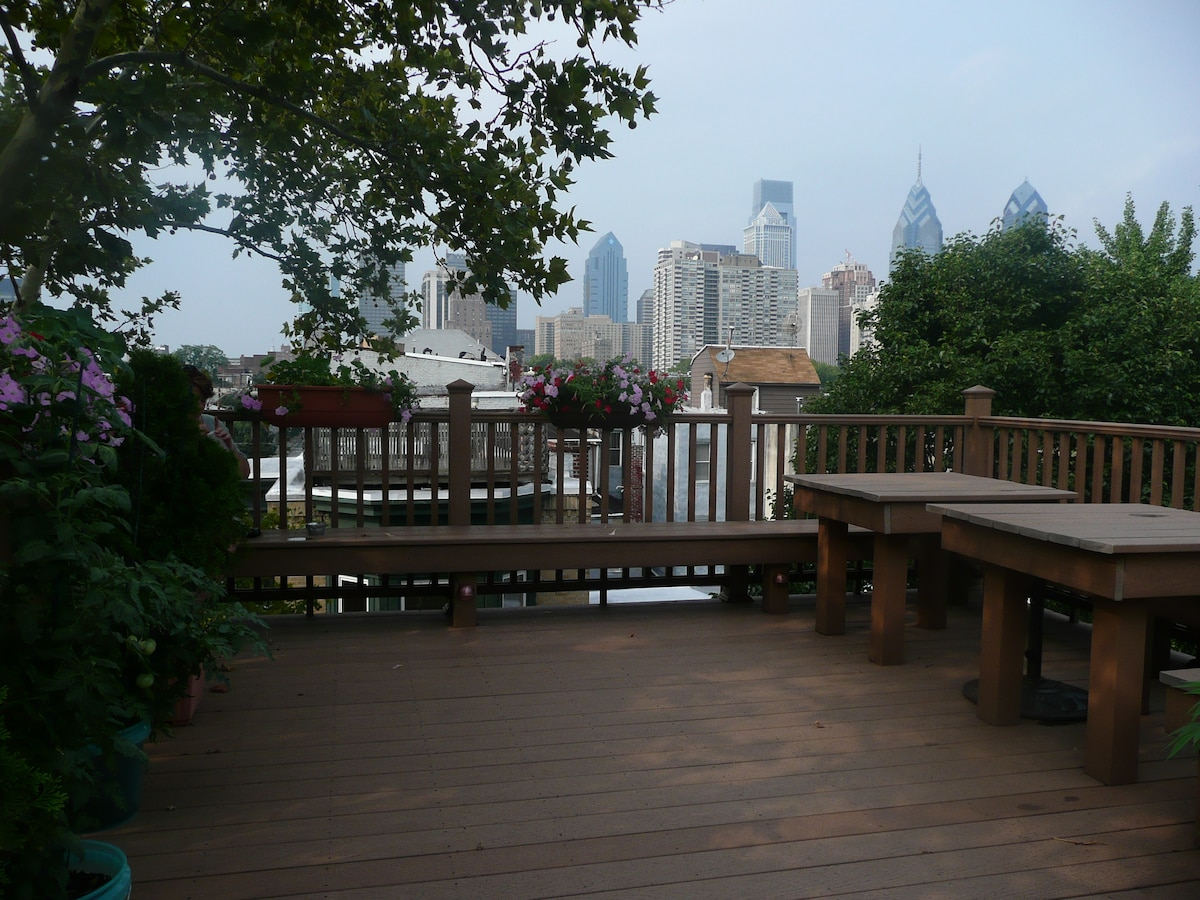 Roof deck with stunning view of the Philadelphia skyline.