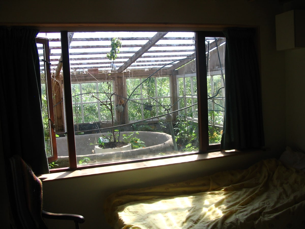 Bedroom looking it conservatory.