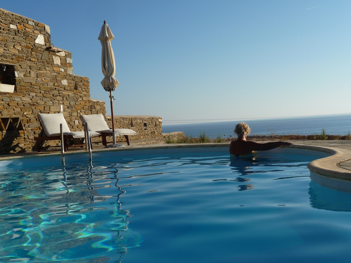 AEGEAN VIEW TINOS ( the view from pool)