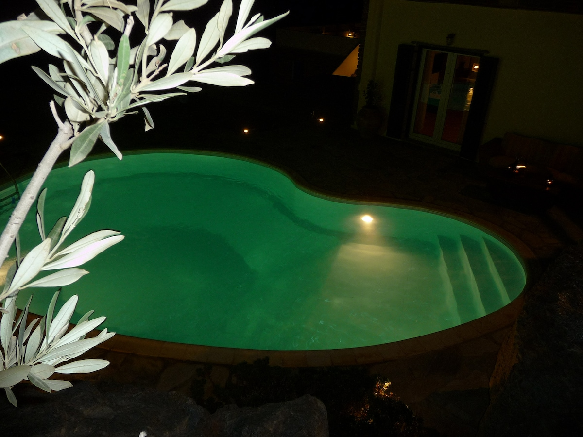 swimming pool in the night time ...