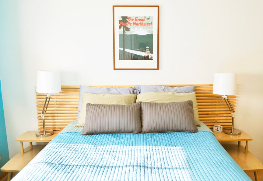 Super-comfy, pillow-top queen size bed with fresh sheets and lots of pillows