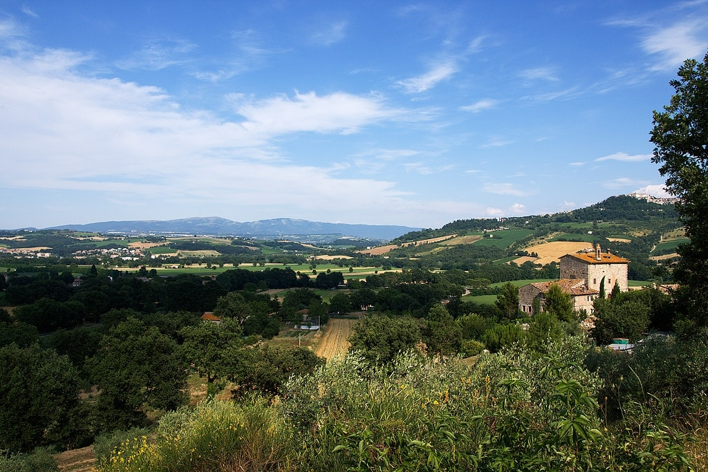 The location of Domus Picta at Torre Bertona. Todi is on the hill on the right, 3 km away