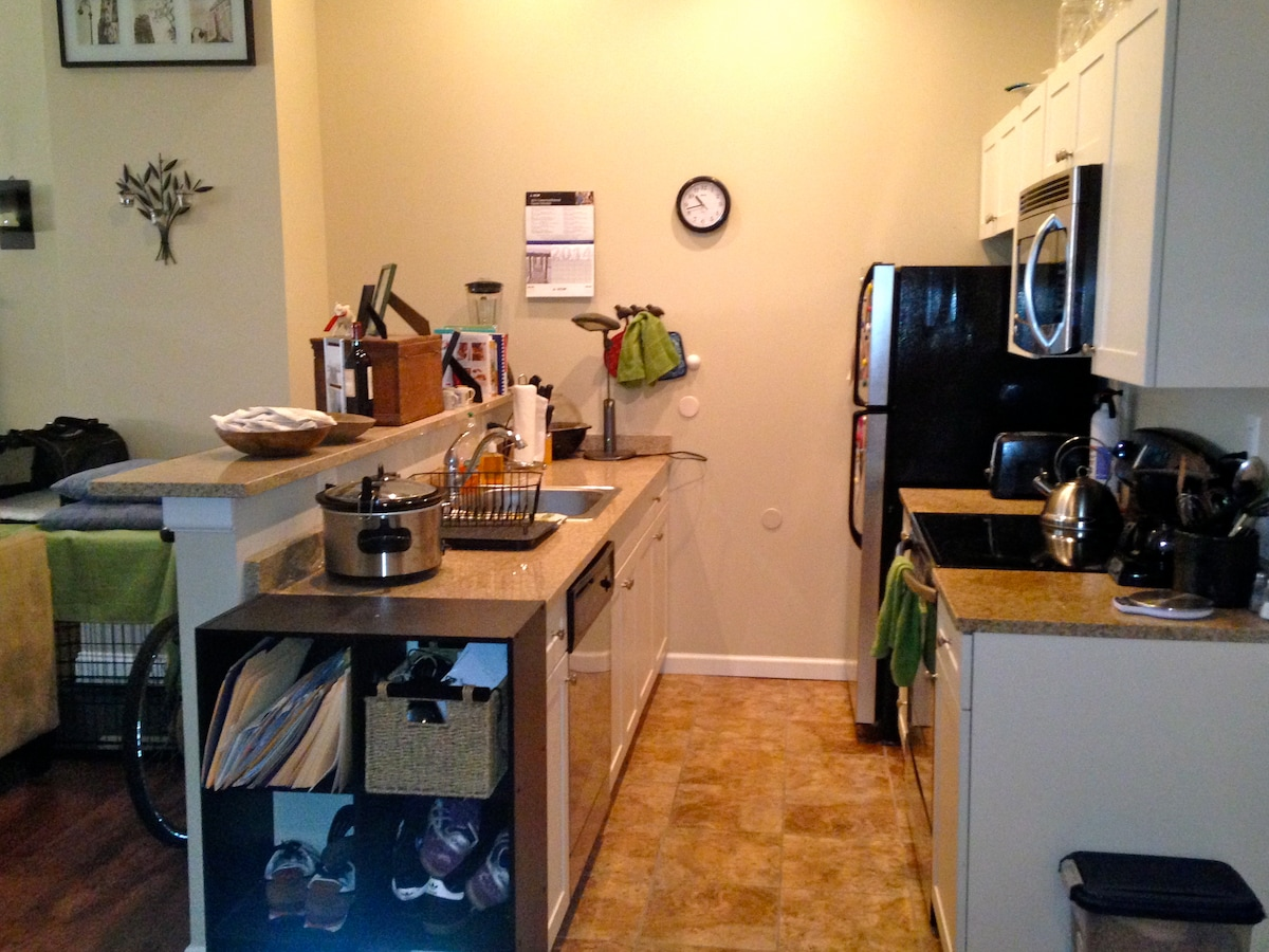 Enjoy full use of anything in the kitchen! Microwave, large fridge, stove/oven, crock pot, coffee maker, blender and popcorn popper is all yours!