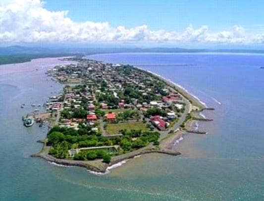 Arial view of Puntarenas. We are located on the beach on the right side.