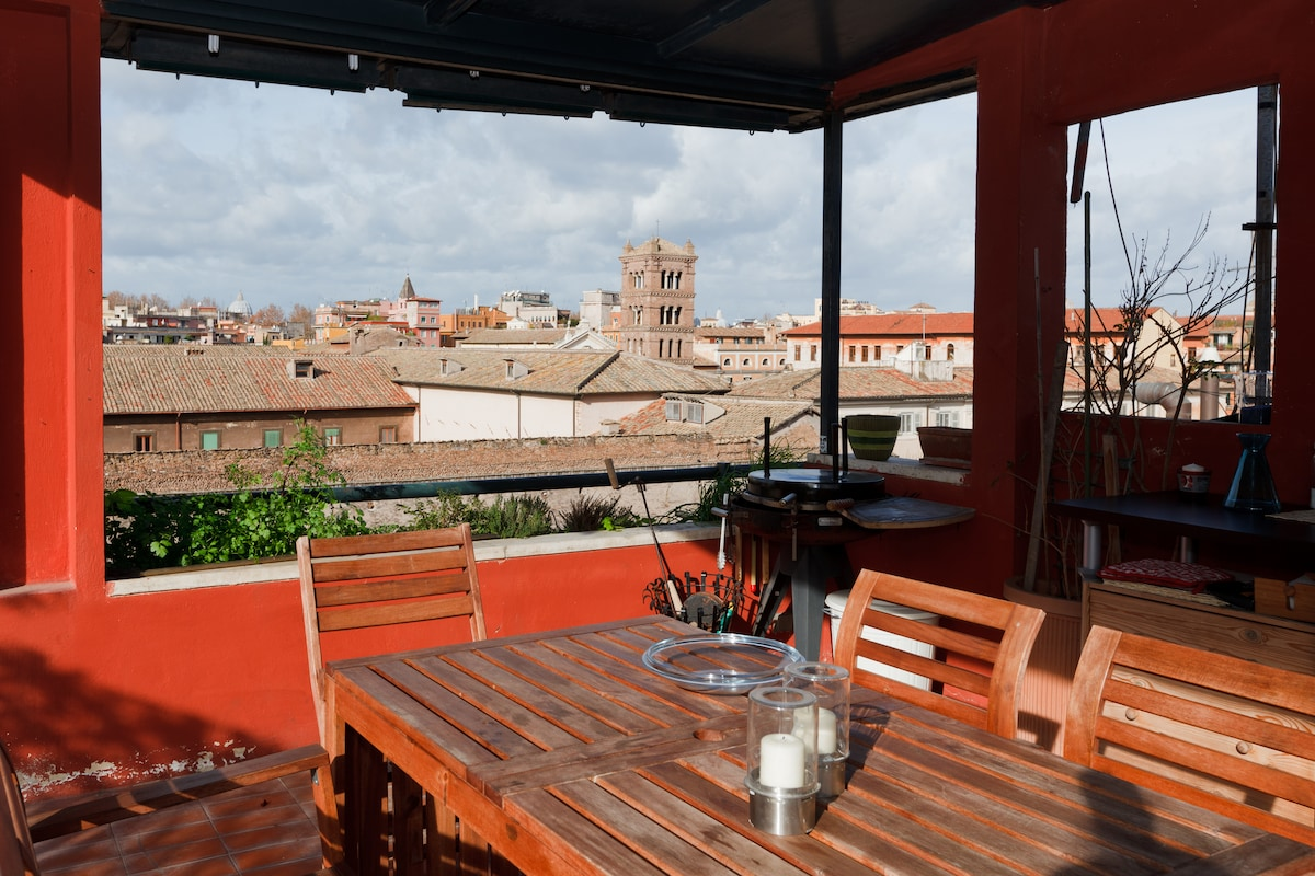 The Penthouse has a gorgeous terrace with panoramic views of Rome.