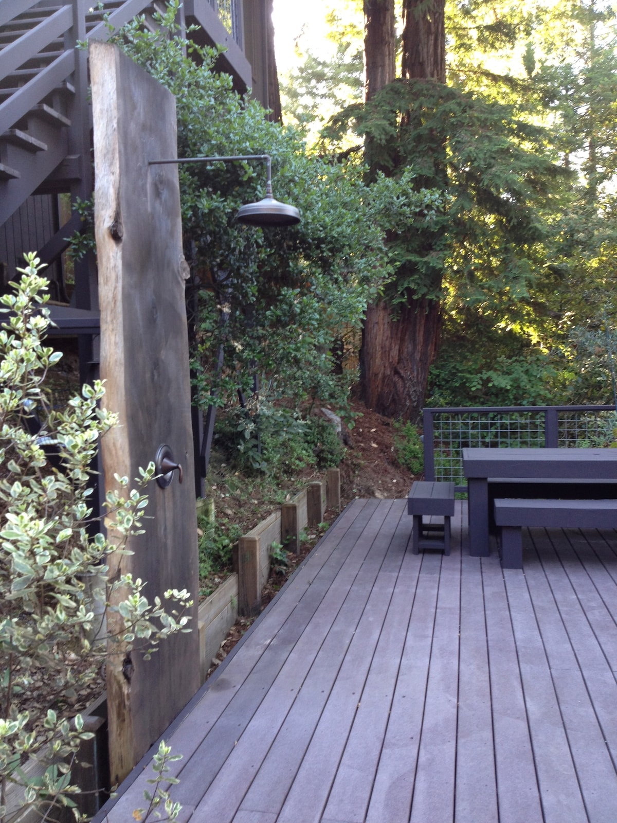 Outdoor shower and custom built picnic table from a 1970s Sunset book