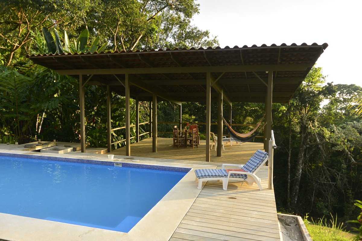 Pool and covered pergola... cushioned lounge chairs and hammocks for your use.