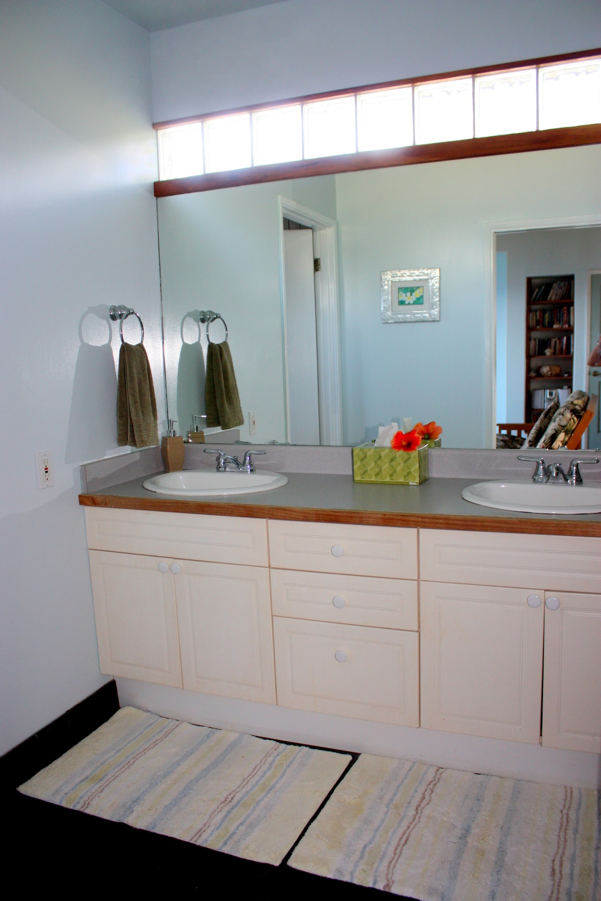 lavatory for two with wide mirror