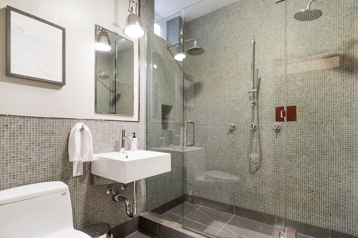 Custom dual head shower , one of the nicest bathrooms in San Francisco