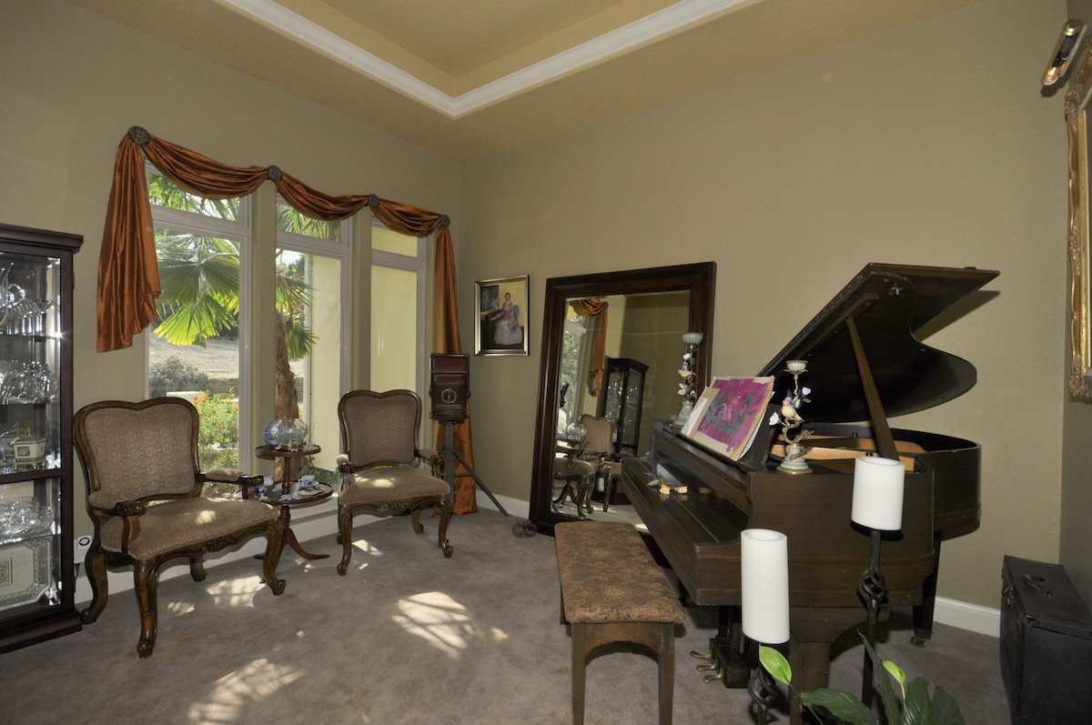 Piano Room,  Baby Grand Piano is tuned and ready to play