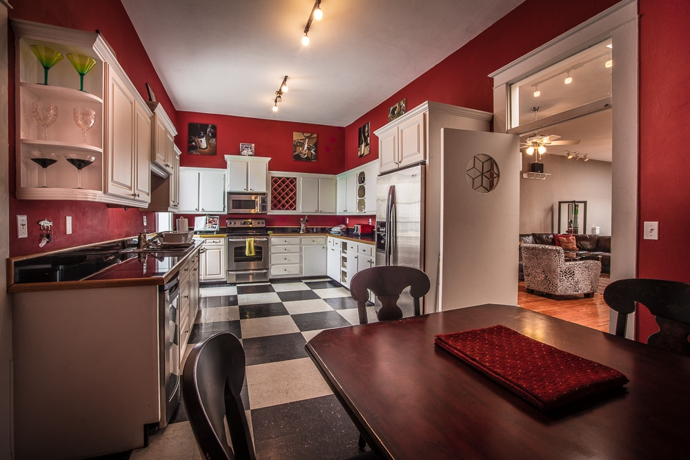 Large kitchen, fully stocked with all the dishes, pots and utensils you need, eat in table that seats 4-6