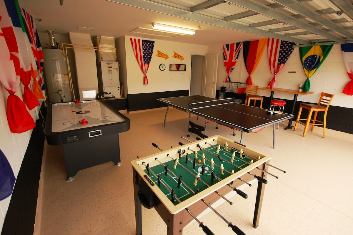 Games Room complete with Ping Pong, Air Hockey, and Foosball