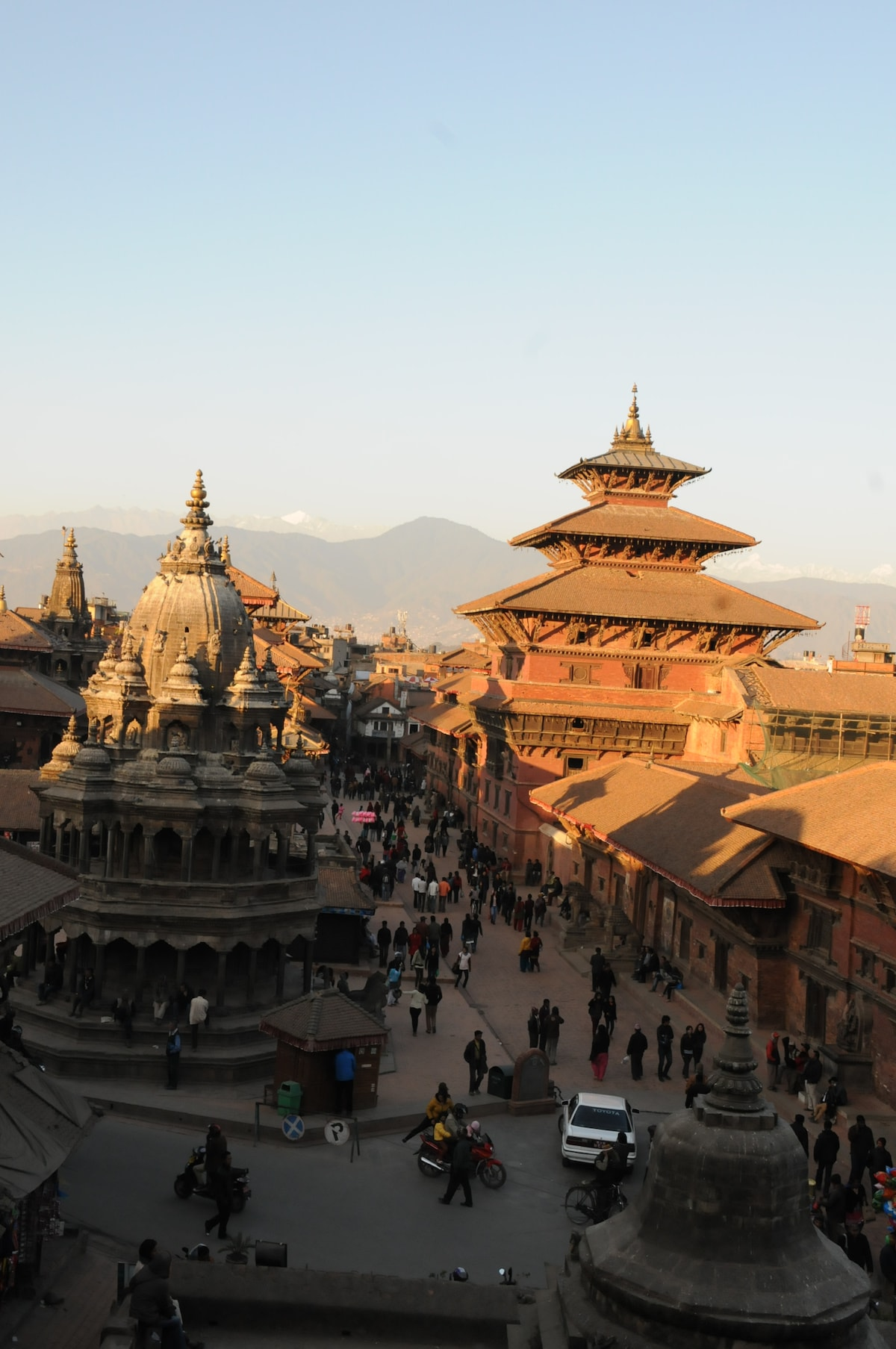 UNESCO World Heritage Site, 'Patan Durbar Square' and mountains, view from guest house.