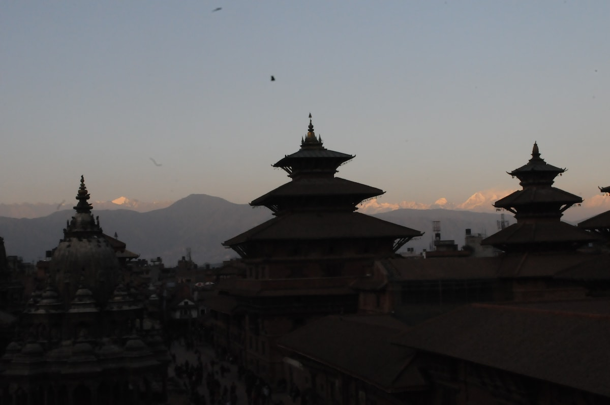 Evening panoramic view of 'Patan Durbar Square' from our terrace.